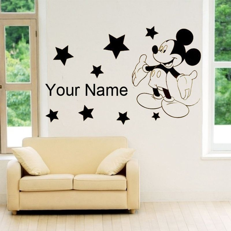 New mickey mouse wall stickers for kids rooms custom name removable vinyl wall sticker home decor