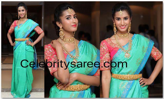 Telugu Actress in Sea Green Silk Saree   Saree, Green silk