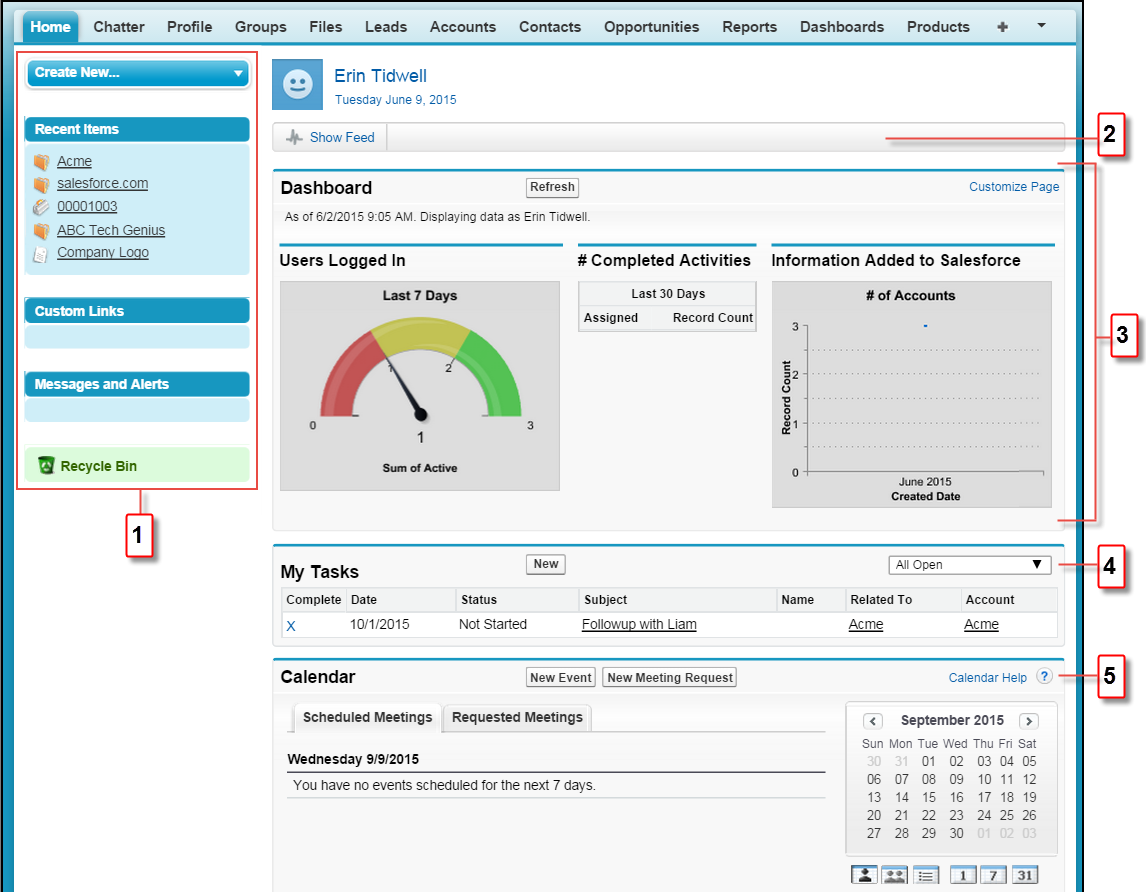 a screenshot showing the home tab layout  salesforce crm