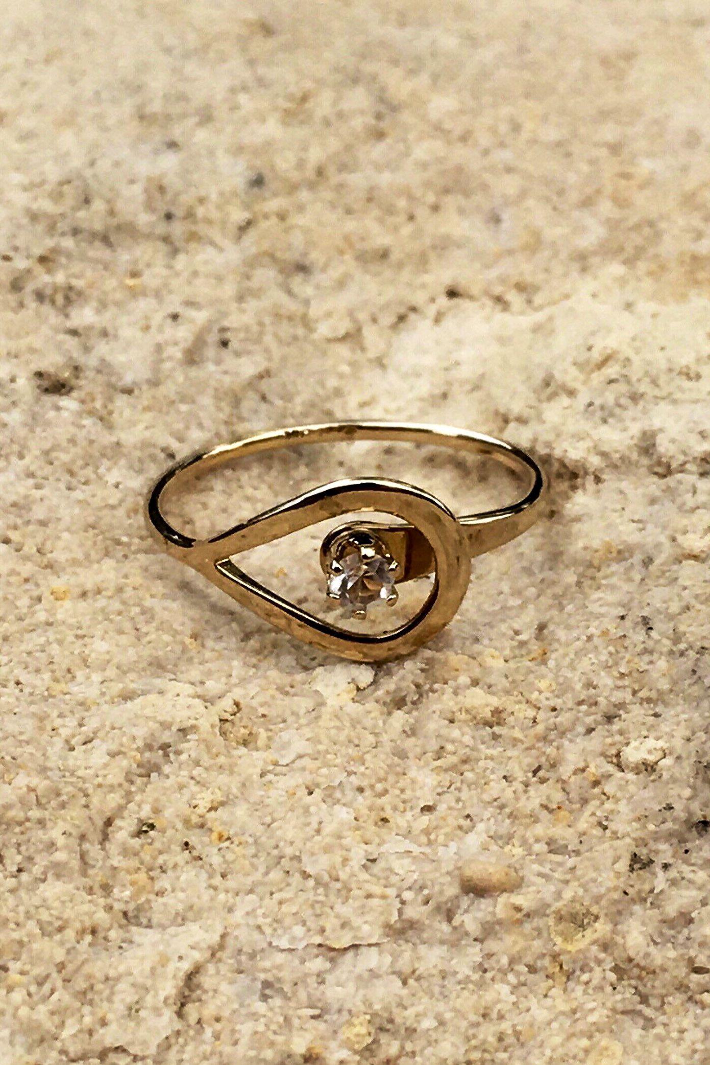 Avon Catch A Star Gold Teardrop Diamond Ring Etsy Teardrop Diamond Ring Classic Engagement Ring Solitaire Single Diamond Ring