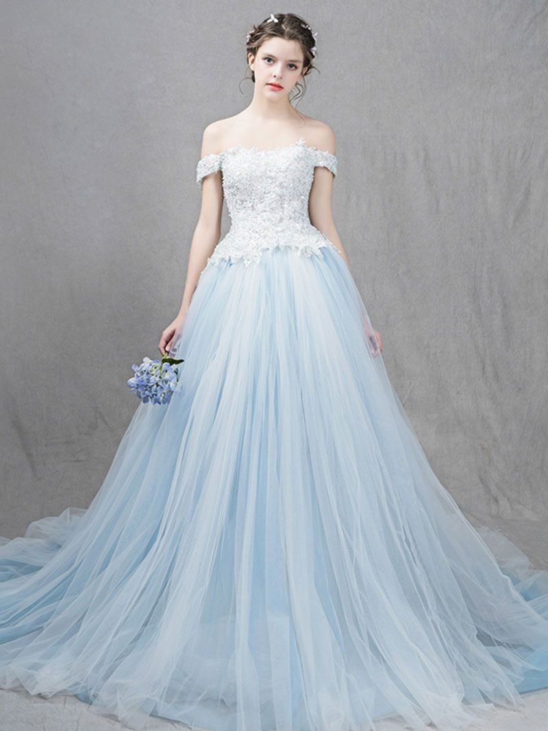 Ice Blue Ball Gown Formal Dress With Off Shoulder Straps In