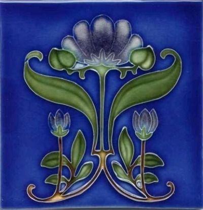 Art Tile, Art Nouveau Flowers, Dark Blue, Green, and Gold on Blue