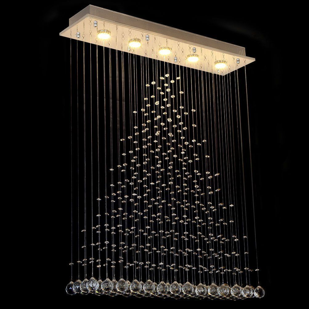 Dst Modern Transparent Rain Drop Crystal Lighting Ceiling Lighting Chandelier For Living Room Bedroom Study Room L80cm W20cm H102cm Amazo Modern Staircase Led