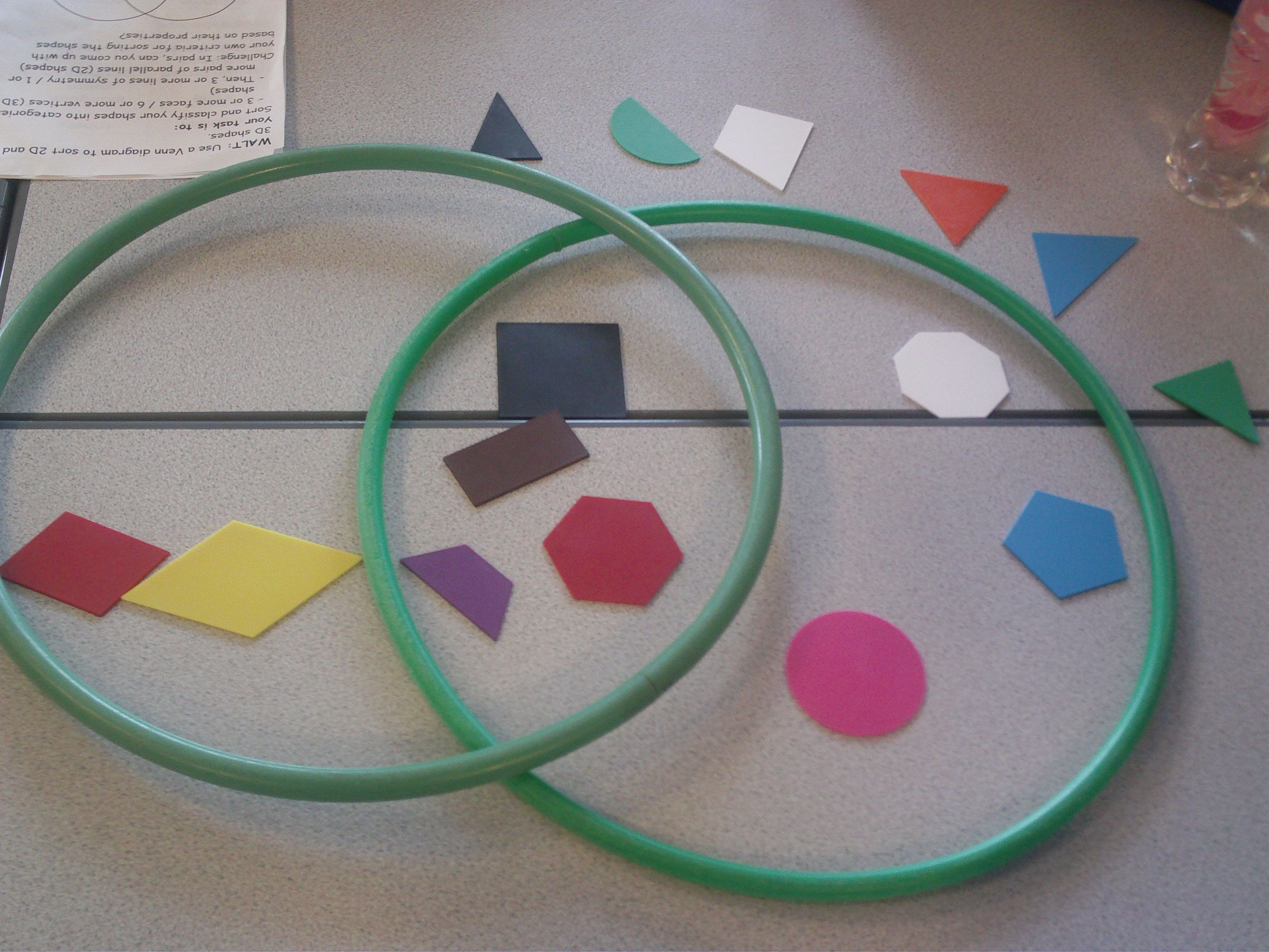 2d Or 3d Shape Sorting With Venn Diagrams According To 2