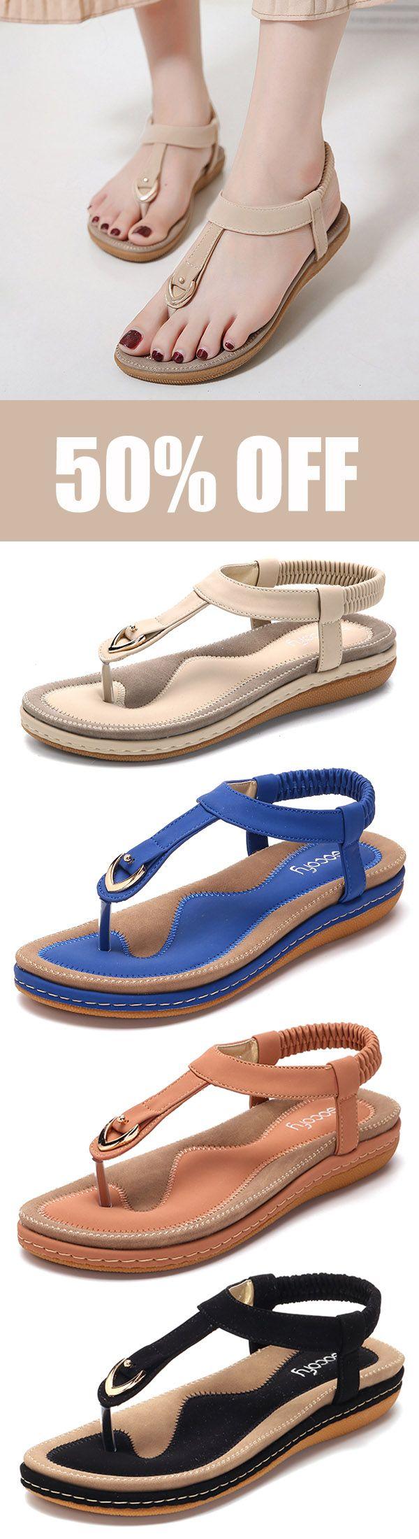 363e36bd0e66 SOCOFY Comfortable Shoes Elastic Clip Toe Flat Beach Sandals US Size 5-13.   shoes