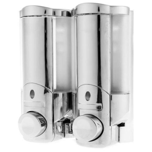 Double Soap Sanitizer Shampoo Dispenser Wall Mount Kitchen Shower