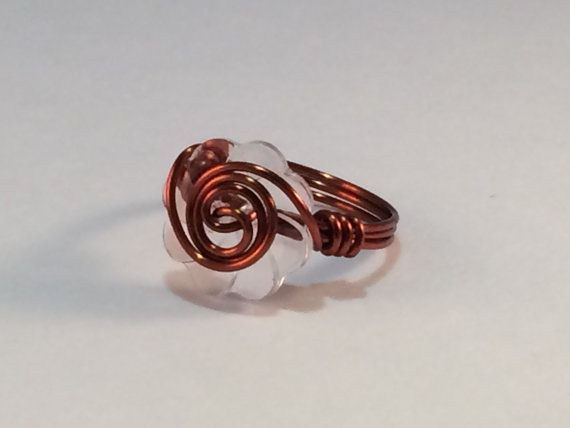Handmade wrapped wire button ring non tarnish by JieLingJewelry
