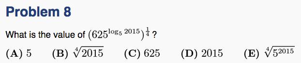 AMC12B 2015 Q8 - simplify log/exp