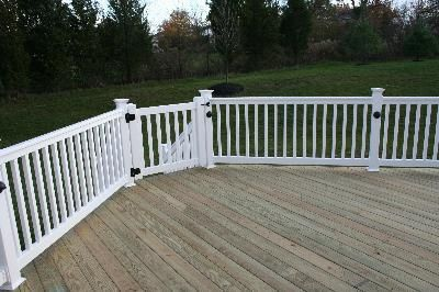 Pressure Treated Deck With White Vinyl Rails In Hilltown Pa