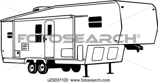 Camper Fifth Recreation Recreational Rv Vehicle Wheel Rh Com Clipart Black And White