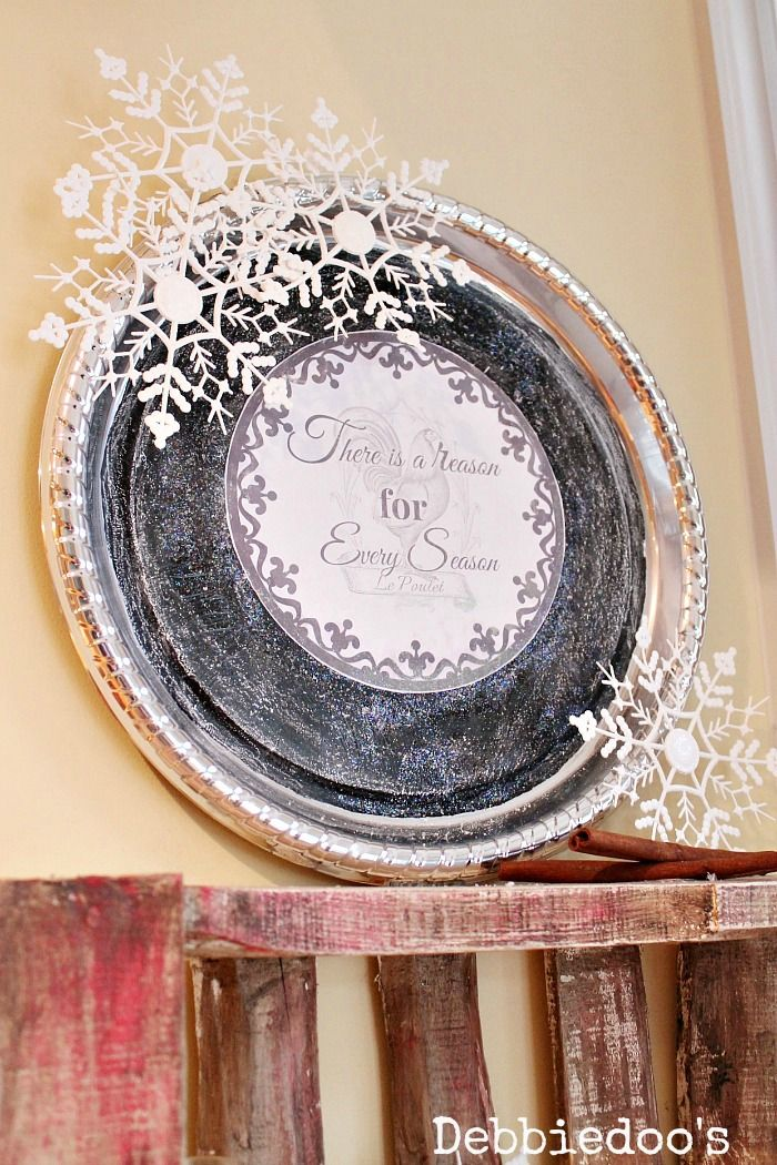 How to make a winter wall platter from the dollar tree