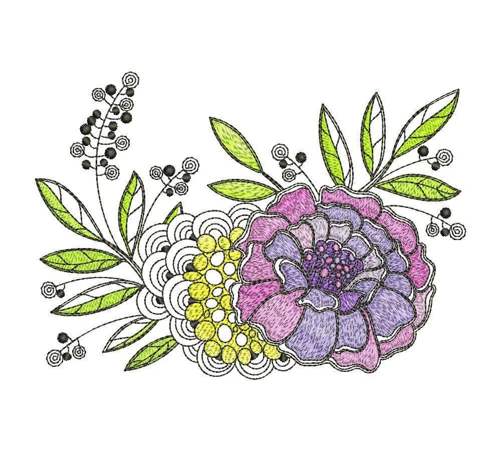 Flower marigold bouquet machine embroidery pattern design x