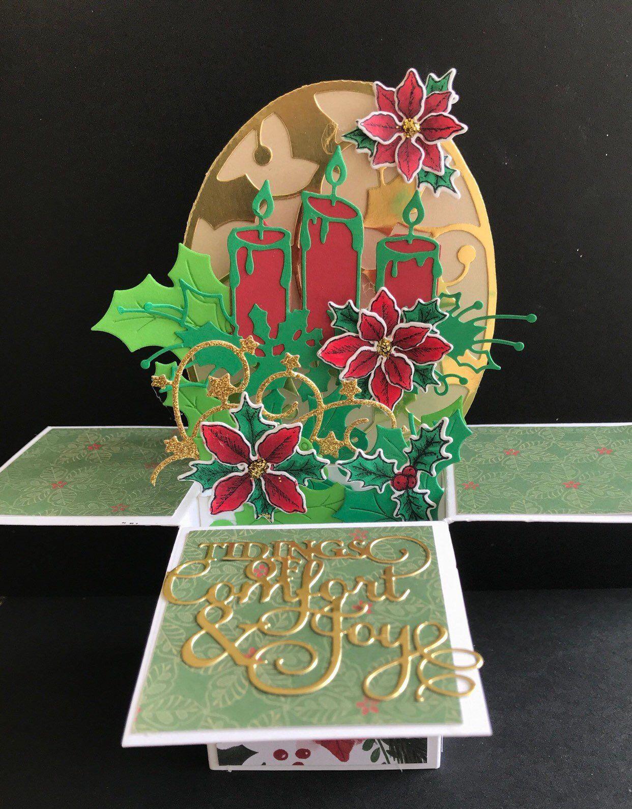 Elegant Christmas card handmade christmas card in a box