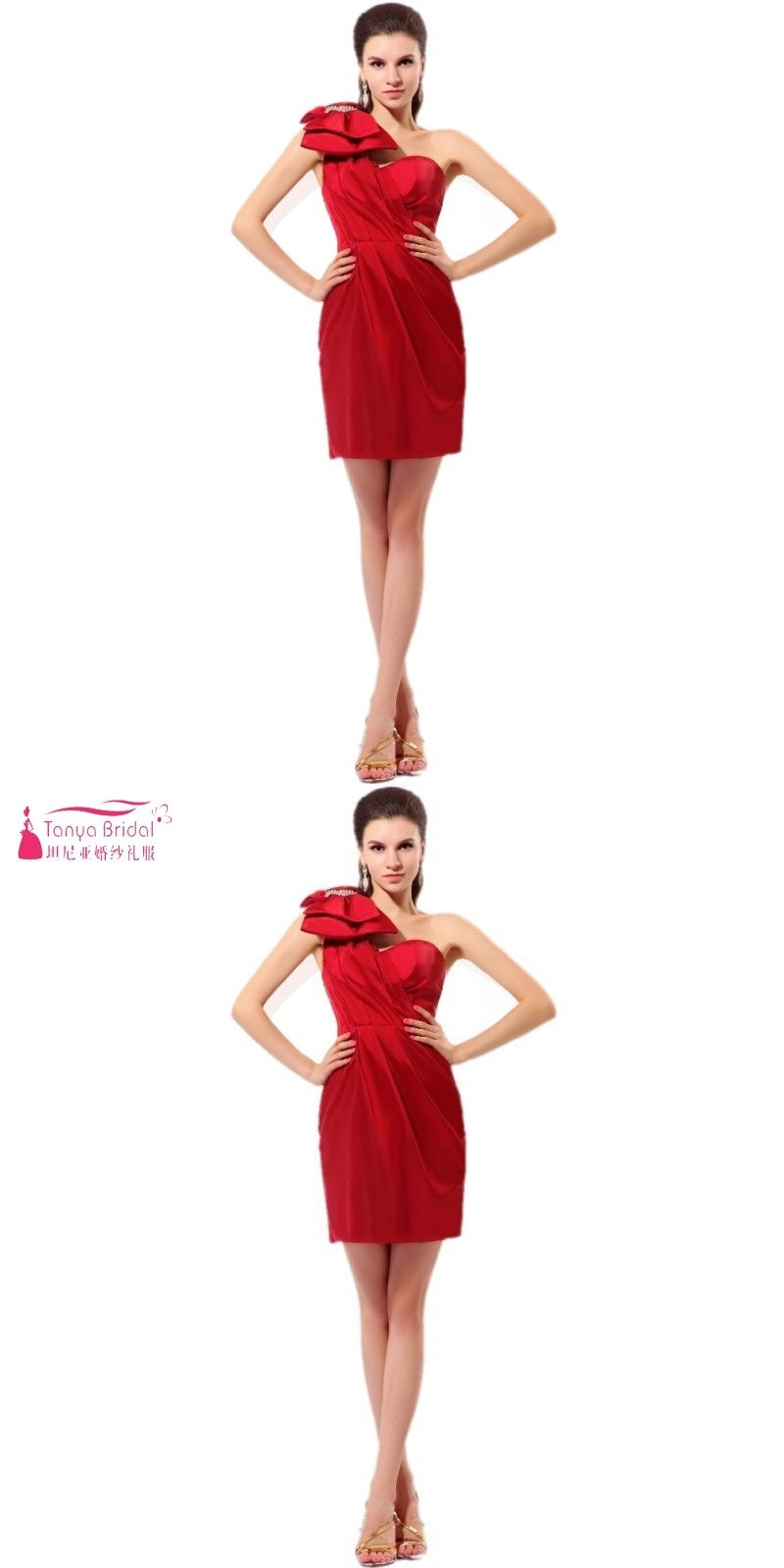 c17ddd0e3 One Shoulder Dark Red Short Mini Sexy Simple Cocktail Dresses With Bow  China Cheap Party Dress