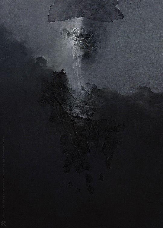 Dark Mixed Media Artworks by Jarek Kubicki