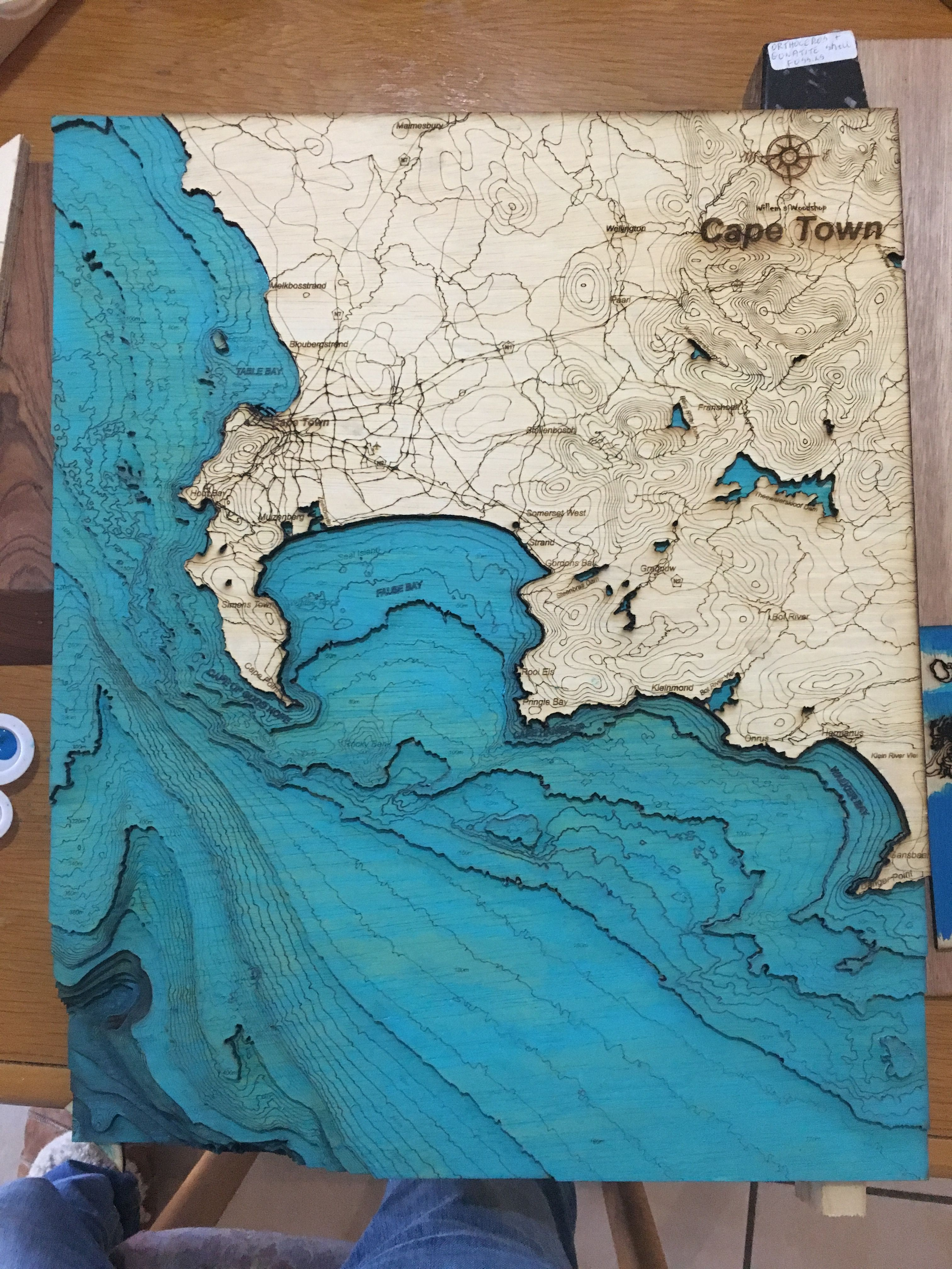 3D Wooden Bathymetric Map of Cape Town (South Africa) made from