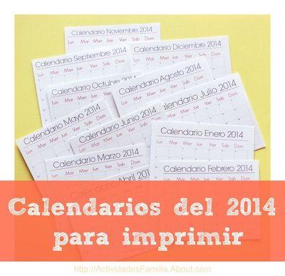 Calendarios del 2014 para imprimir #Imprimir #Imprimible #Calendario
