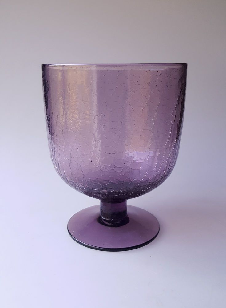 Purple Crackle Glass Goblet Shaped Vase Stamped Pontil Pinterest