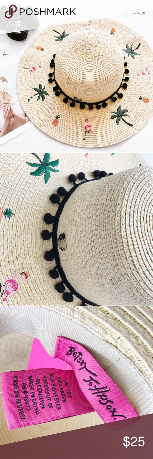 •BETSEY JOHNSON• straw hat Betsey beach babes this is the hat for you! cc51169a5b89