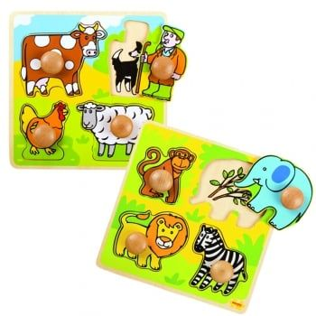 Save when you buy the Safari and Farm puzzles together. Match each brightly coloured wooden piece to the correctly shaped slot on the base board. E