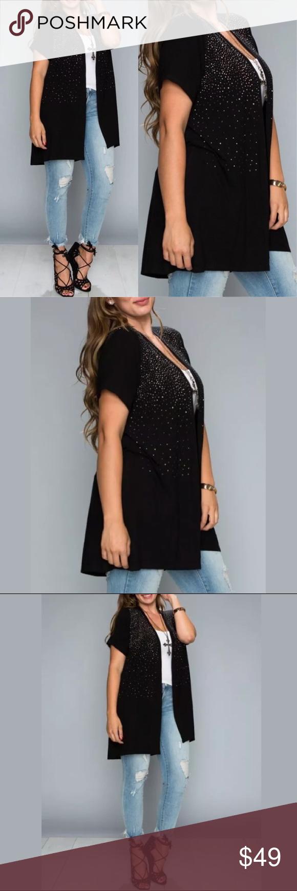 Plus vocal crystal sparkly black cardigan wrap boutique wrap
