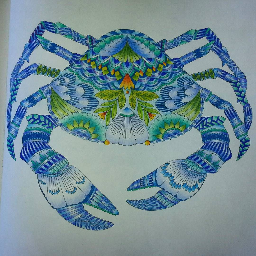 Marisa On Instagram Coloured In Crab For Mom Sort Of Companion Piece To The Seahorses From Millie Marotta Histoires De Couleurs Coloriage Mandala Couleur
