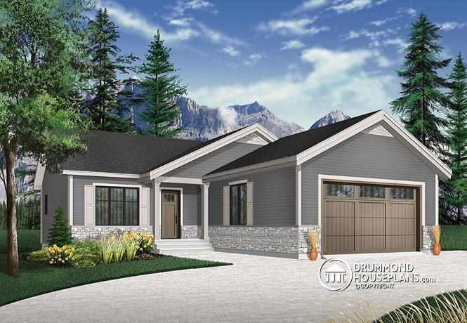 Affordable modern rustic bungalow 2 car garage master suite with private shower