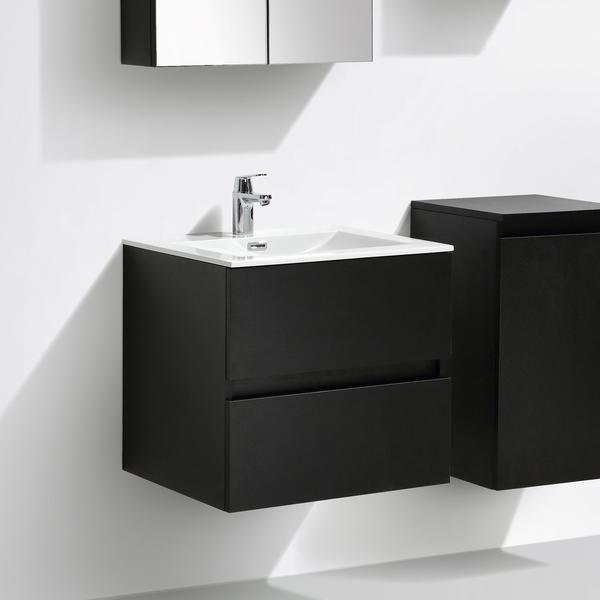 Mueble lavabo + lavabo 60cm MONTADO tinte Roble Negro SIENA | Siena