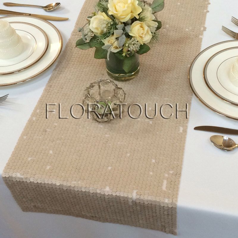 Champagne Round Sequin Table Runner Wedding Table Runner by floratouch on Etsy https://www.etsy.com/listing/201465856/champagne-round-sequin-table-runner
