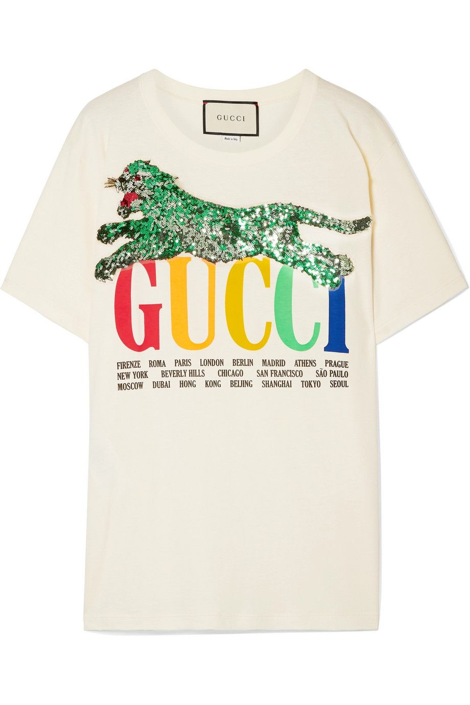 1ddc92d05 Gucci | Oversized embellished printed cotton-jersey T-shirt | NET-A-PORTER .COM