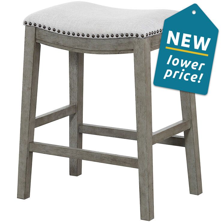 Haven Upholstered Saddle Style Light Grey Counter Stool In 2020