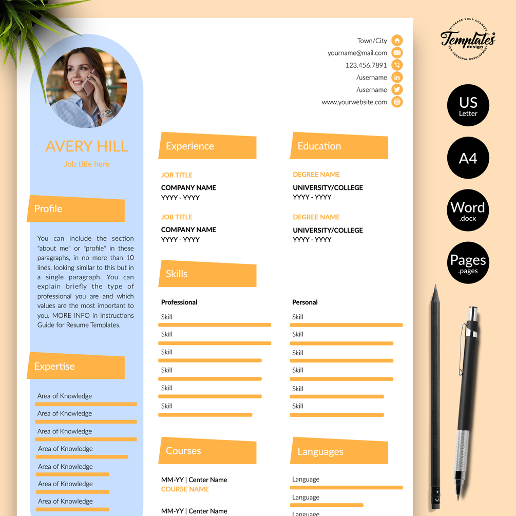 Avery Hill Creative Resume Cv Template For Word Pages Us Letter A4 Files 1 2 3 Page Resume Version Cover Letter References Cover Letter