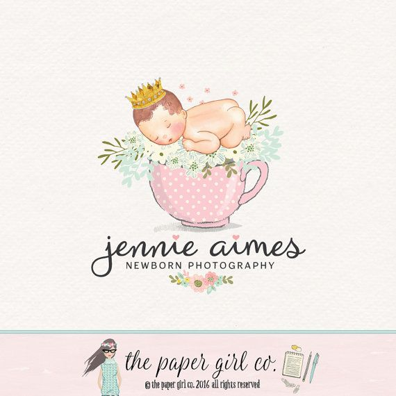 Newborn photography logo baby logo design by thepapergirlco