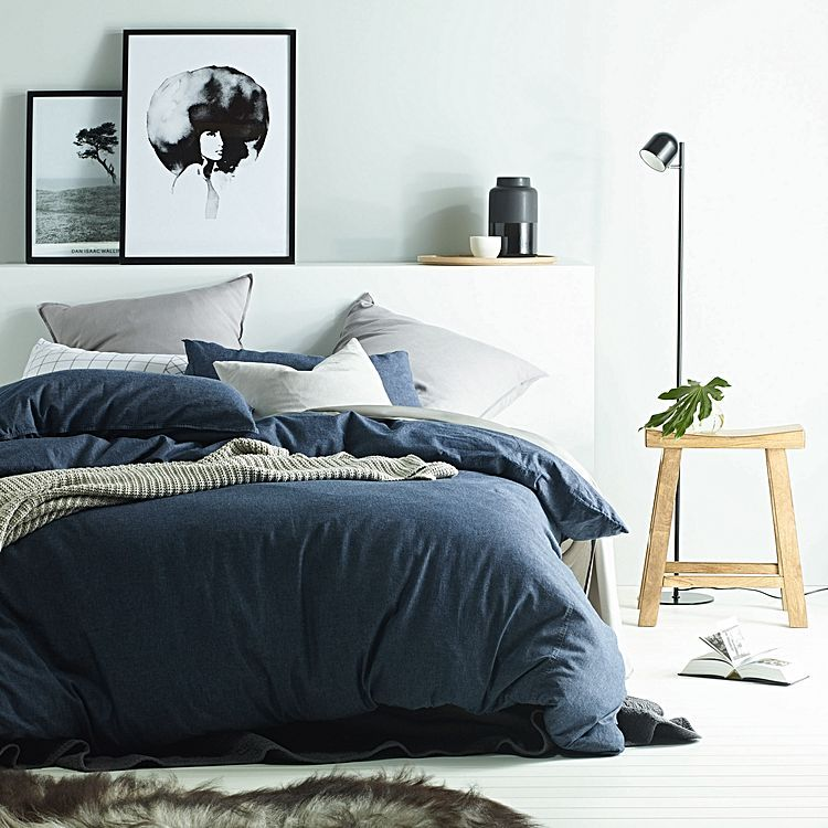 Exude Casual Luxury In Your Bedroom With The Indulgent Feel Of The Denim Quilt Cover Set From Vintage Desig Bed Linens Luxury Quilt Cover Sets Bed Linen Design