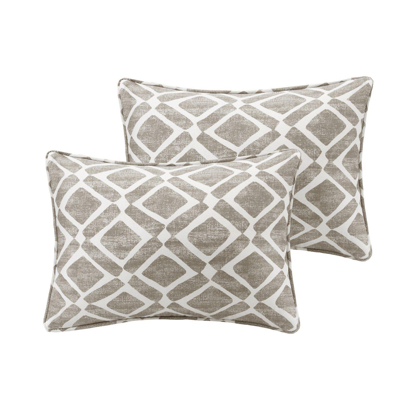 Madison Park Delray Diamond Printed Boudoir Pillow Set Of 2 Gray