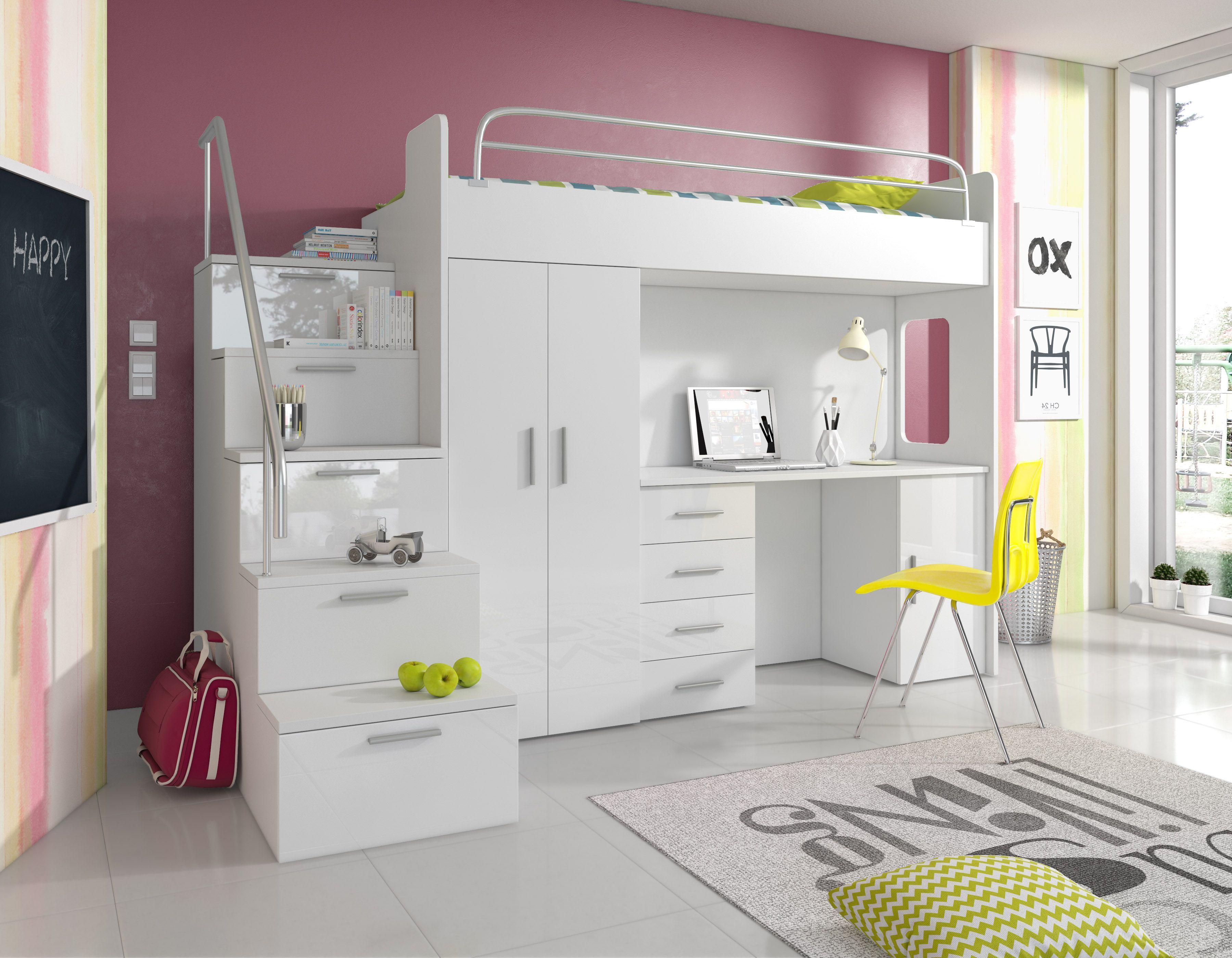 Paradise Hochbett 4s Weiss 80x200 Cm Loft Betten Hochbett Mit Schrank Etagenbett Schreibtisch
