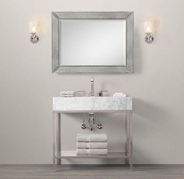 Guest Bath. Hudson Metal Single Frame Washstand