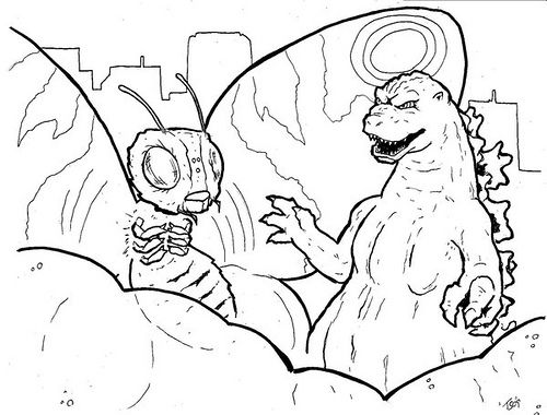 godzilla and mothra coloring page