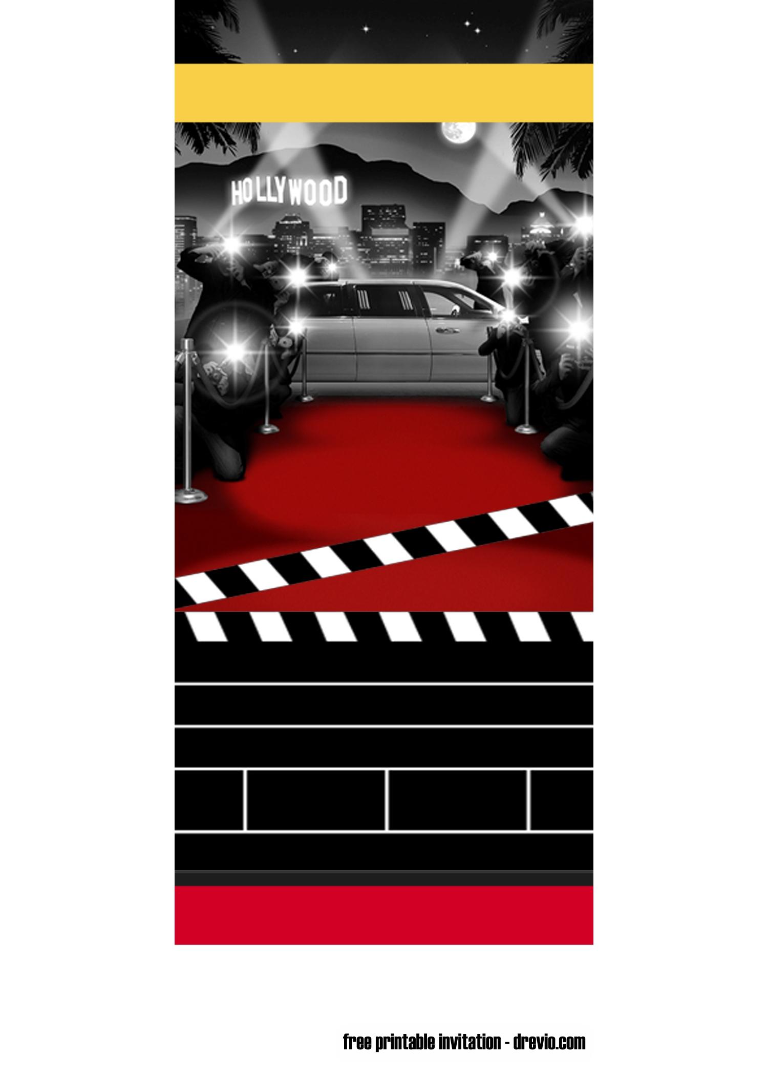 Free Printable Movie Ticket Party Invitation Template Hollywood Invitations Party Invite Template Ticket Party Invitations