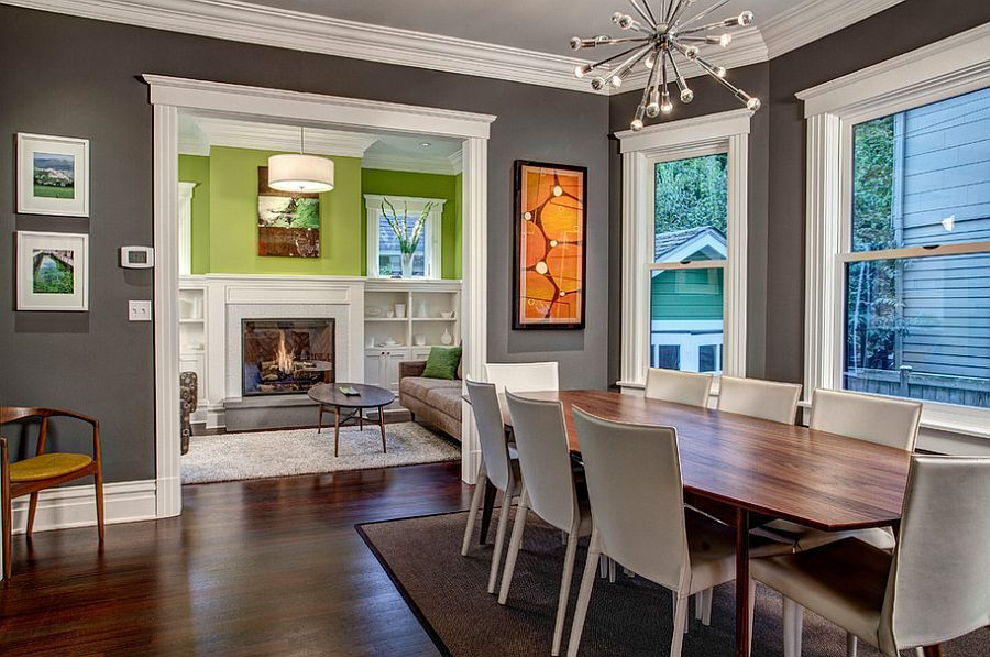 White trims bring added beauty to the gray dining room