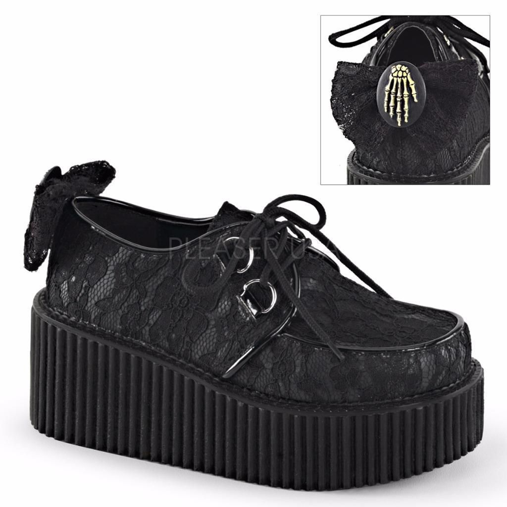 Demonia Schuhes Creeper 212 Goth Lace Gothic Punk schwarz Lace Goth Creepers ... 41ebbe