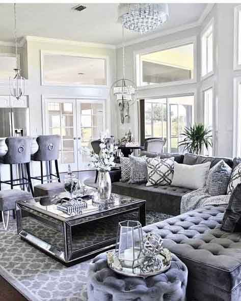 Gorgeous Monochromatic Grey Glam Living Room Decor With Grey Velvet Tufted Sectional Sofa In 2020 Glam Living Room Decor Glam Living Room Living Room Decor Cozy