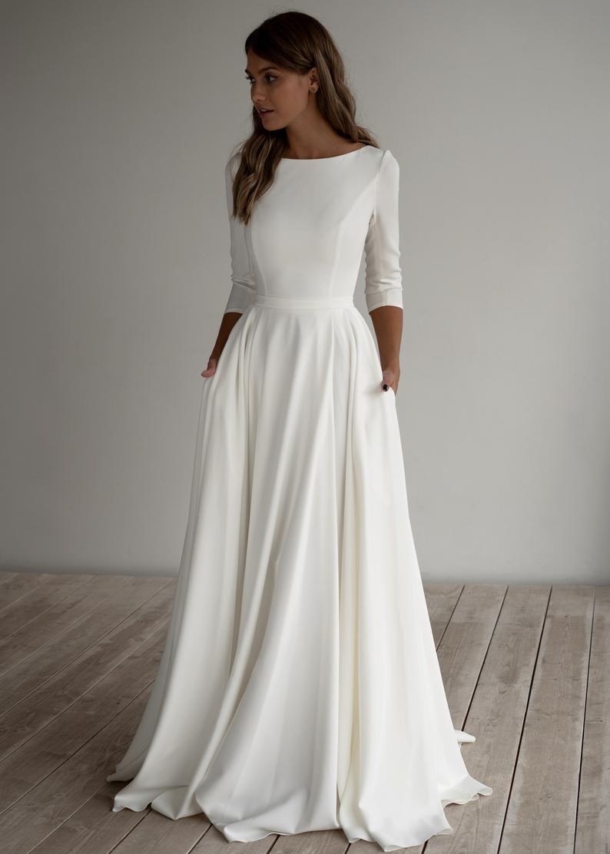 Photo of Romantic wedding dress Adri. Minimalist dress long sleeve crepe dress romantic bridal chiffon dress elegant boot.