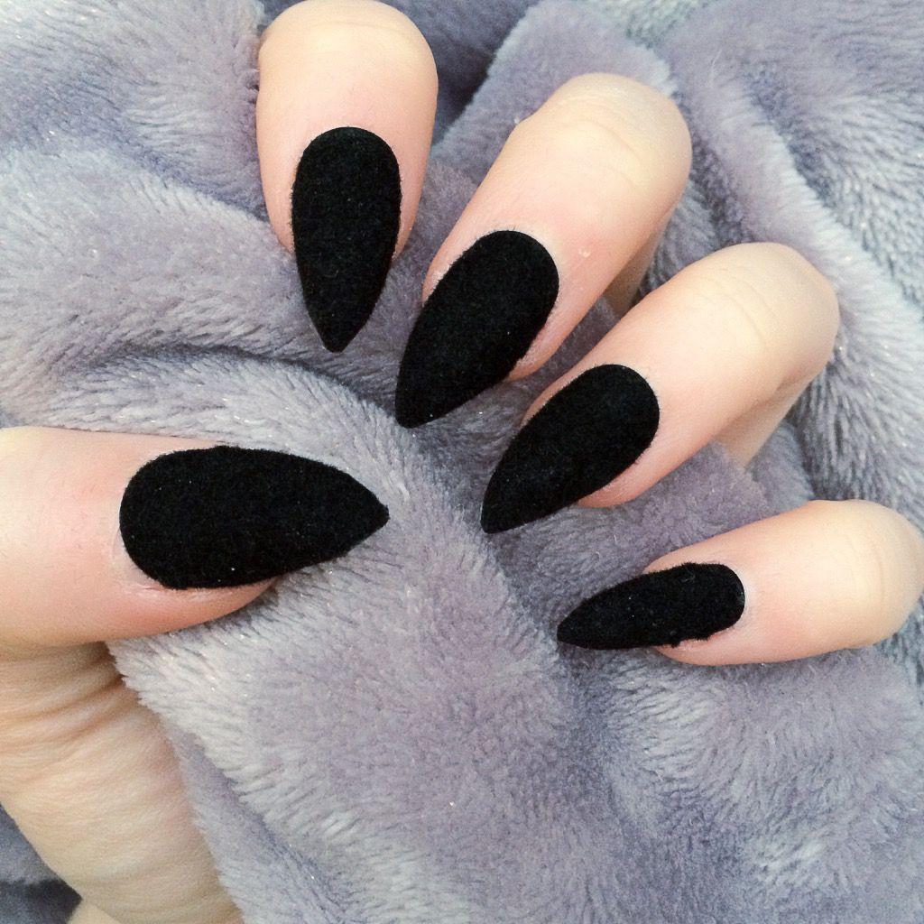 Velvet Black Stiletto 19 99 Velvet Nails Black Nails Black Stiletto Nails