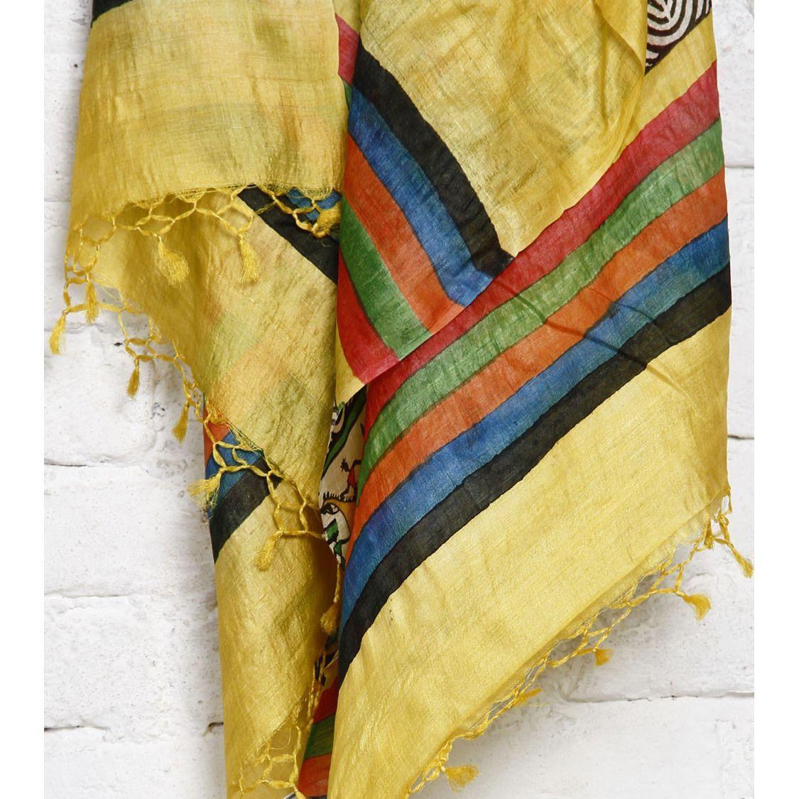 Yellow, Black Off White Warli Tussar Silk Dupattas   Yellow black ...