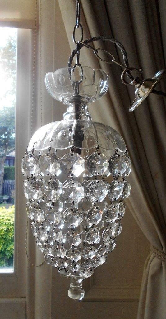 Vintage cut glass crystal domed bag chandelier lamps and vintage cut glass crystal domed bag chandelier mozeypictures Images