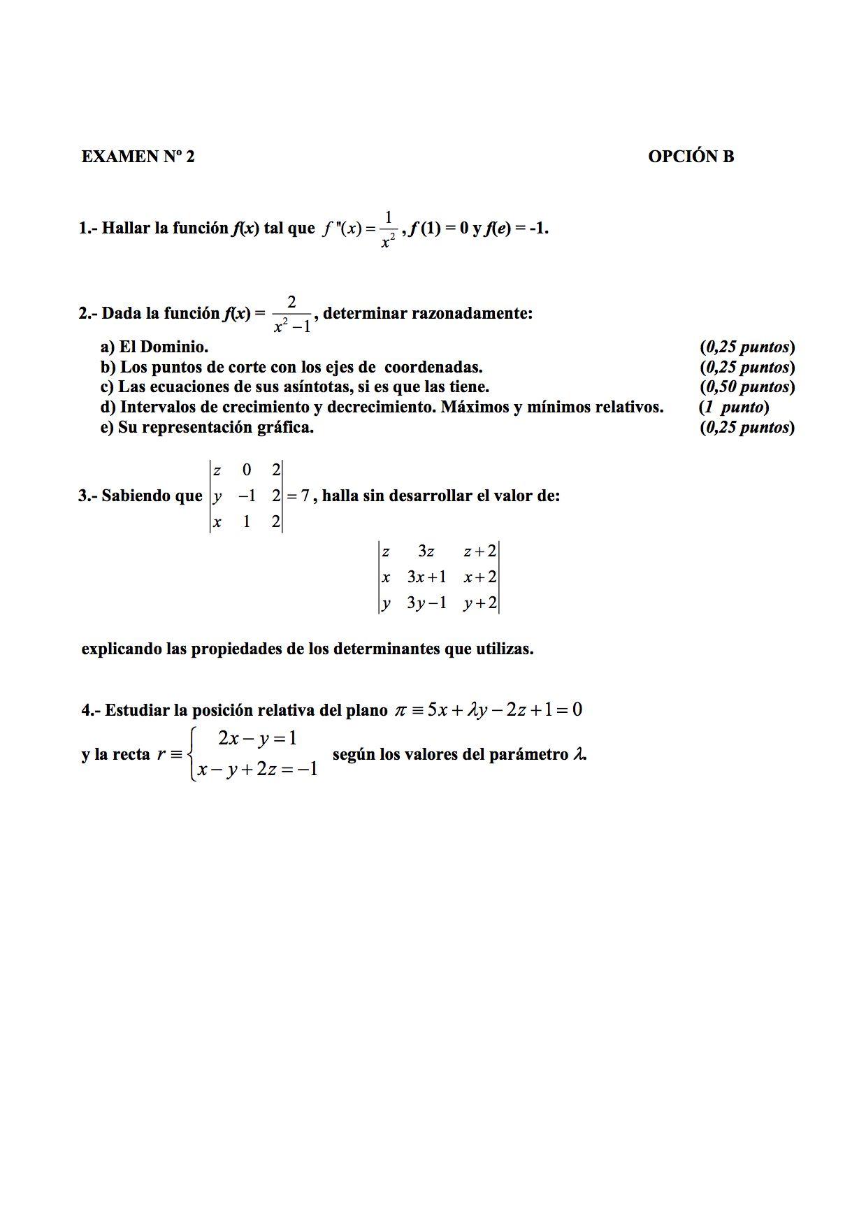 Examen Propuesto De Matematica En Canarias 2004 2005 Septiembre