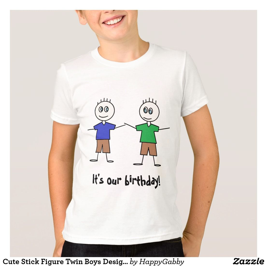 Design t shirt zazzle - Cute Stick Figure Twin Boys Design Birthday T Shirt