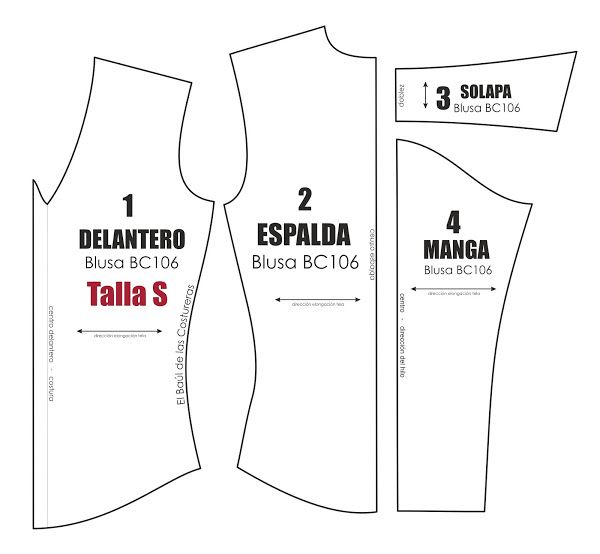 Blusa BC106 Escote V Manga larga | Pdf, Patterns and Patrones