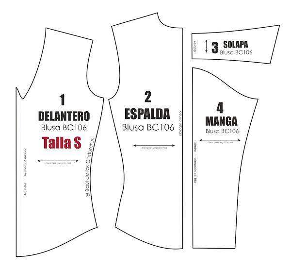 Molde de costura gratis para blusa manga larga Talla S M L para ...